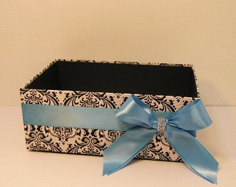 Wedding  Program Box Damask  Amenities Box Bathroom Accessories Box handkerchiefs Box - Customize your color
