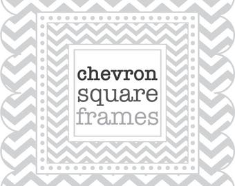 Square Frames in Chevron - digital clip art - Grey / Gray