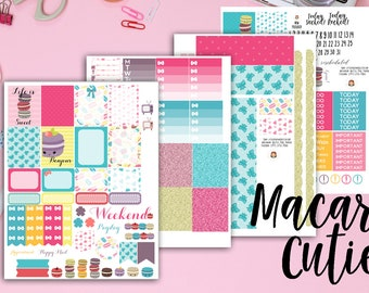 Macaron Weekly Planner Stickers Kit - Kawaii Stickers - for use with Erin Condren Life Planner - Happy Planner - Macaroon