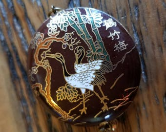 Vintage cloissone gold toned pendant Asian characters crane bamboo gift for her 1970s