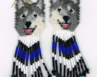 2 Hand Beaded  Laughing Grey wolf, Husky dog earrings with Blue & black in fringe