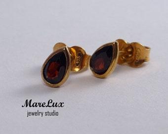 Rose Gold Natural Garnet Earrings, 14K Gold Plated Silver Garnet Pear Studs, Red Garnet Rose Gold Fill Studs, Tiny Gold Garnet Earrings