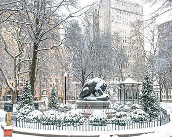 Lion Statue with the Gazebo at Ritten House Sq Park , Snow View (12x14)Canvas Art.