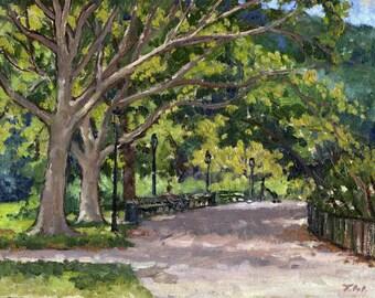 Oil Landscape Painting, Muscota Marsh, Inwood Hill Park NYC. Small Oil on Panel, Plein Air Impressionist Fine Art, 8x10 Signed Original