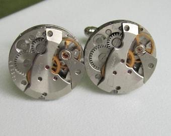 Steampunk Cufflinks  vintage watch movements Upcycled mens Cuff Links Geeky formal wear Steampunk Fashion geek accesories Unique man gift
