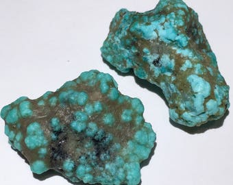 2pc Rare 16.4g Authentic Natural Raw Morenci Turquoise w/ Pyrite Crystal Nugget Set - Morenci, Arizona, USA - Item:TQ17058