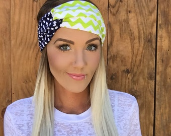 Chevron + Polkadots Seattle Turban Headband || Hair Accessory Knit Workout Yoga Dots Navy Blue White Lime Green Football Girl Women Scarf