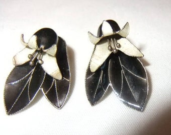 Thousand Flowers Earrings, Black and Cream Enamel over 925 Sterling, 2 Piece Lilies