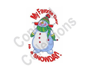 Snow Day - Machine Embroidery Design, Snow, Snowman