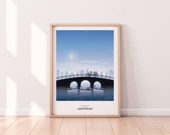 Wanderlust Amsterdam Print   Gift   Wall Art   Poster   A3