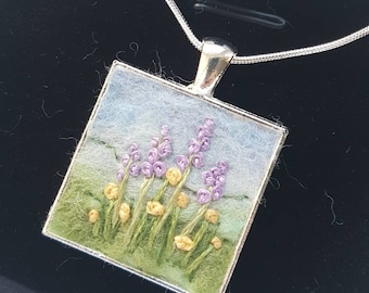 Felted & embroidered flowers pendant with chain - miniature felted wool art collage necklace jewelry - gift for her