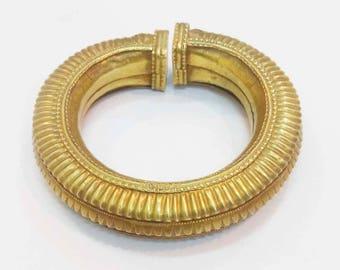 Antique Handmade Gold Polish Tribal Old Silver Ethnic Bangle Bracelet Jewelry