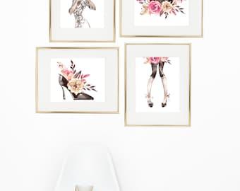 Glam Prints - Girls Fashion Prints - Teen Girls Bedroom Art - Girls Wall Art - Shoe Art Print - Purse Art Print - Makeup Print - Dorm Room