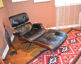 Eames CHAIR & Ottoman, Original Pre 1971, Rosewood Shell, Black Leather, Excel. Vintage Cond.