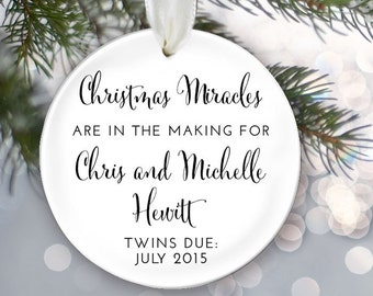 TWINS Personalized Christmas Ornament Christmas Miracles in the Making Twin Baby Shower Gift New baby Ornament Birth Announcement OR281