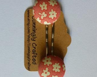 Pink Floral Bobbie Pins