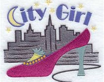 Embroidered Shoe Towel - Embroidered Towel - City Girl - Flour Sack  Towel - Hand Towel - Bath Towel - Fingertip Towel - Apron