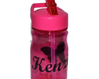 Personalized Kids Tumbler, Pink With Butterfly Design,  Kids Travel Mug, Dance Tumbler, Sports Bottle, Kids Water Bottle BPA Free