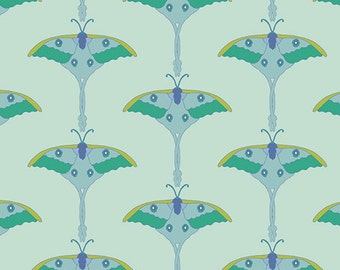 Aqua Luna Moth Fabric,  Art Gallery Safari Moon SFR 7701 Moonmoth Dusty, Exotic Quilt Fabric, Frances Newcombe, Quilting Cotton Yardage