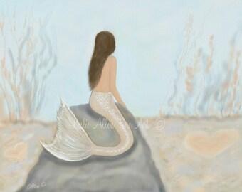 """Mermaid Art Print Mermaid Kid Wall Art Mermaid Painting Mermaids Nursery Art  """"SWEETNESS BENEATH""""  Wall Art Mermaid Painting Seascape Ocean"""