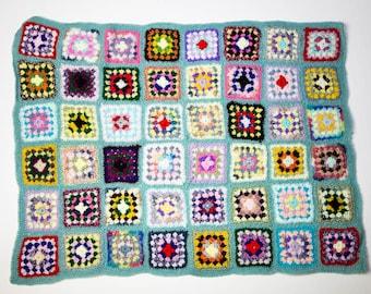 Handmade Granny Square Crochet Baby Blanket Sage Green No 1057
