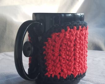 Mug Sweater// Mug Hug // bright red and black// 14oz mug// handmade// ready to ship// gift