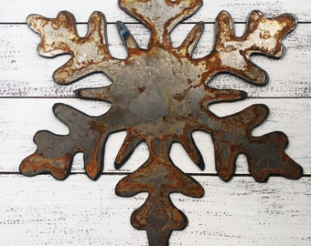 """Snowflake - 6"""" Rusty, Rustic Metal SNOWFLAKE - Predrilled - For Art, Sign, Decor - Make your own DIY Gift"""