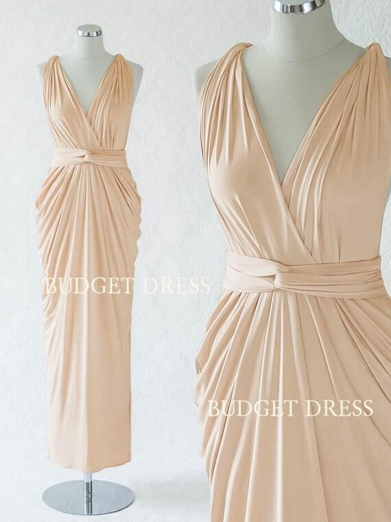 Sand Champagne Convertible Bridesmaid Dress Long Infinity
