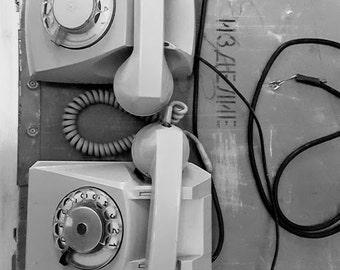 Vintage Rotary Phone / Gray retro phone Soviet vintage 1969
