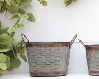 Set of (3) Nesting Galvanized Bucket-Square olive Bucket-Farmhouse Decor-Rustic-Fixer Upper-Magnolia Market-Basket-Coffee Bar-Metal Basket