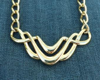 NAPIER - Vintage 1980s Gold-plated Bib Chain-link Necklace
