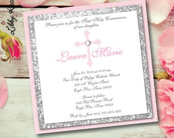 Communion Invitation Girl Communion Glitter Invitation Silver Glitter Pink