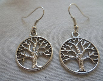 Tree of life earrings,tree earrings,silver earrings,gift for her,wiccan jewelry,pagan jewelry,tree of life jewelry,silver tree,dangle