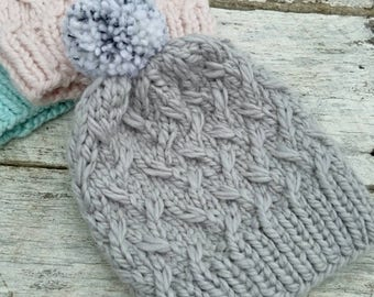 Squishy alpaca knit hat. Laurel beanie. Gray luxe yarn. Finished product. Women's/tweens winter hat. Pompom toque. Grey chunky winter hat.