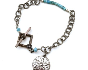 Royston Turquoise Sterling Silver Minimalist Sand Dollar Bracelet   Toggle Clasp Silver on Bronze Chain for Her Under 100  Free Gift Wrap
