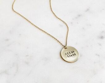 14k Gold Filled OCEAN LOVER Disc Necklace
