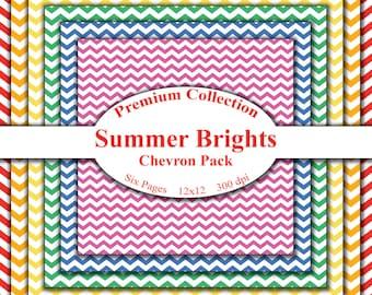 Premium Summer Brights Chevron Digital Paper Download