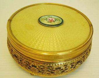 Vintage Vanity Box-Yellow Cloisonné-1930-Boudoir