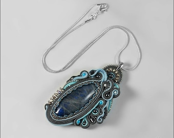 FREE SHIPPING Handmade pendant, soutache pendant, soutache jewelry, grey pendant, grey necklace, soutache necklace, gift for her Grey Depth