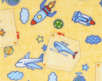 218550 yellow with airplane transport pocket denim look oxford fabric by Kokka