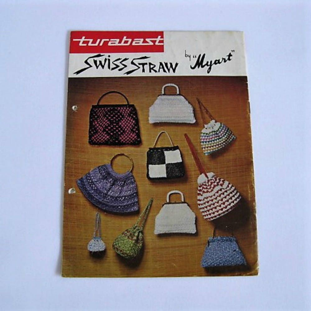 Vintage Crochet Bag Patterns-1960\'s Swiss Straw Raffia Pattern Book ...