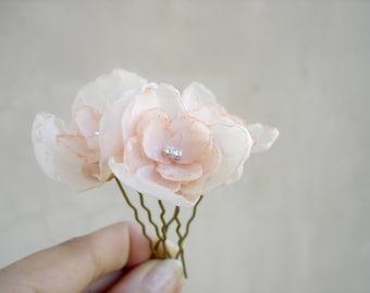 Silk Chiffon Hair Flowers Peach  Wedding  Hair Pins, Small Bridal Flower Headpiece, Wedding Hair Accessories, Bridal Hair Piece