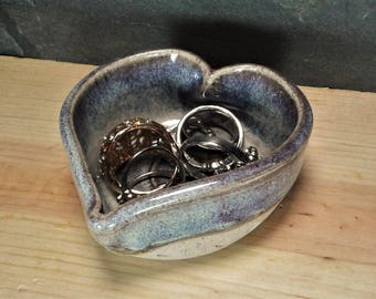 TRINKET DISH: Heart Shaped Pottery Trinket Jewelry Bowl Dish - Denim Blues with Stamped Hearts
