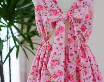 Floral pink bridesmaid dress sundress vintage prom dress party dress floral bridesmaid dress short party dress pink dress women sundress