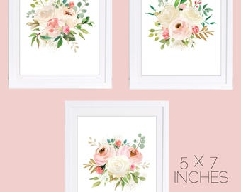 Set of 3 floral prints, 5 x 7 inches, Floral Nursery Art, Watercolor Flowers, PRINTABLE, Watercolor Roses, Blush Pink Nursery, Blush Pink