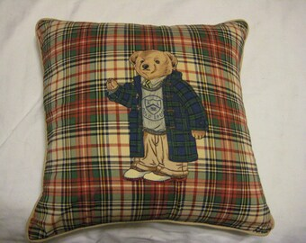 Ralph Lauren Goose Down/Feather-Filled Plaid Polo Bear Pillow