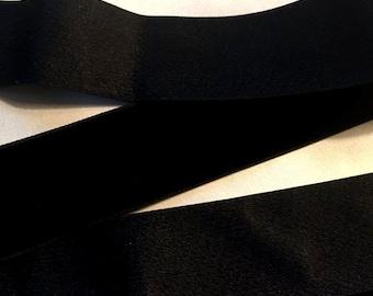 Vintage 1930's French Silk Velvet Ribbon 1 7/16 Inch Gorgeous Jet Black