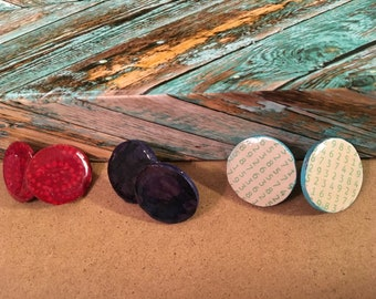 Stud Fabric Trio Circles Earring Set