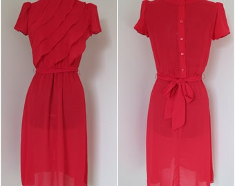 Early 1980s Red Sheer Dress with Ruffled Bodice- Womens Bust 34 - By The Limited (B1)