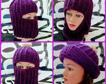 Ski Mask, Ski Hat, Womens winter hat